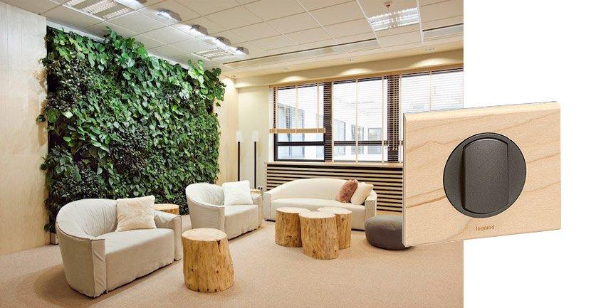 Выключатель Legrand Celiane и деревянная рамка в офисе в стиле Эко