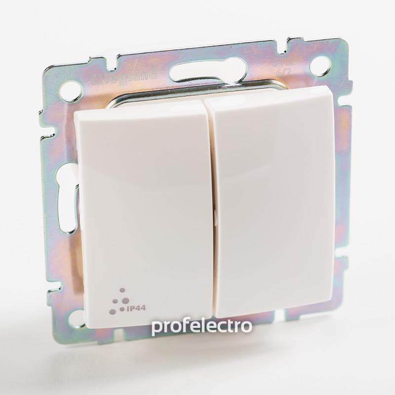 Выключатель двухклавишный проходной влагозащищенный белый без рамки Valena