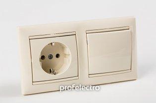 Рамка двухпостовая цвет слоновая кость в сборе с розеткой и выключателем Valena Legrand на profelectro.com.ua