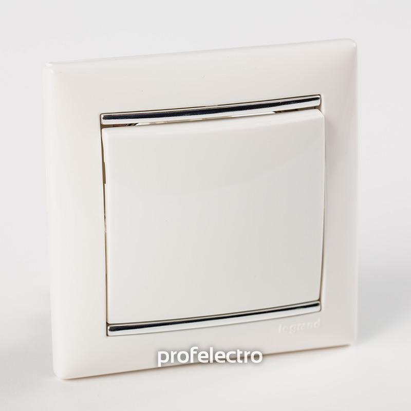 Рамка цвет белый-серебряный штрих в сборе с выключателем Valena