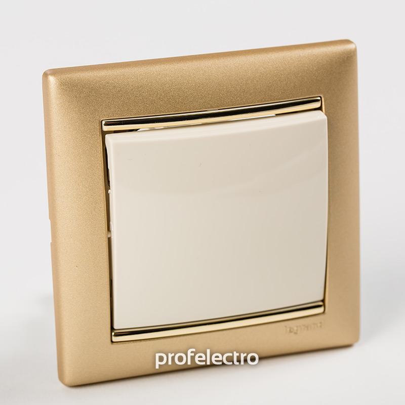 Рамка цвет матовое золото в сборе с выключателем Valena