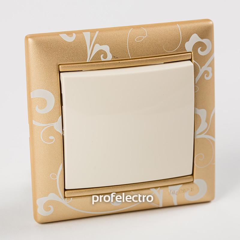 Рамка цвет золото Барокко в сборе с выключателем Valena