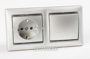 Рамка двухпостовая цвет алюминий-серебряный штрих в сборе с выключателем и розеткой Valena Legrand на profelectro.com.ua