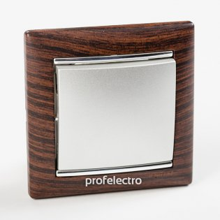 Рамка цвет темное дерево-серебряный штрих в сборе с выключателем Valena Legrand на profelectro.com.ua