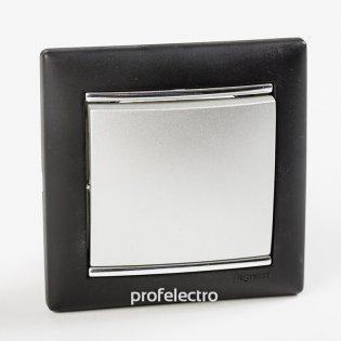 Рамка цвет ноктюрн-серебряный штрих в сборе с выключателем Valena Legrand на profelectro.com.ua