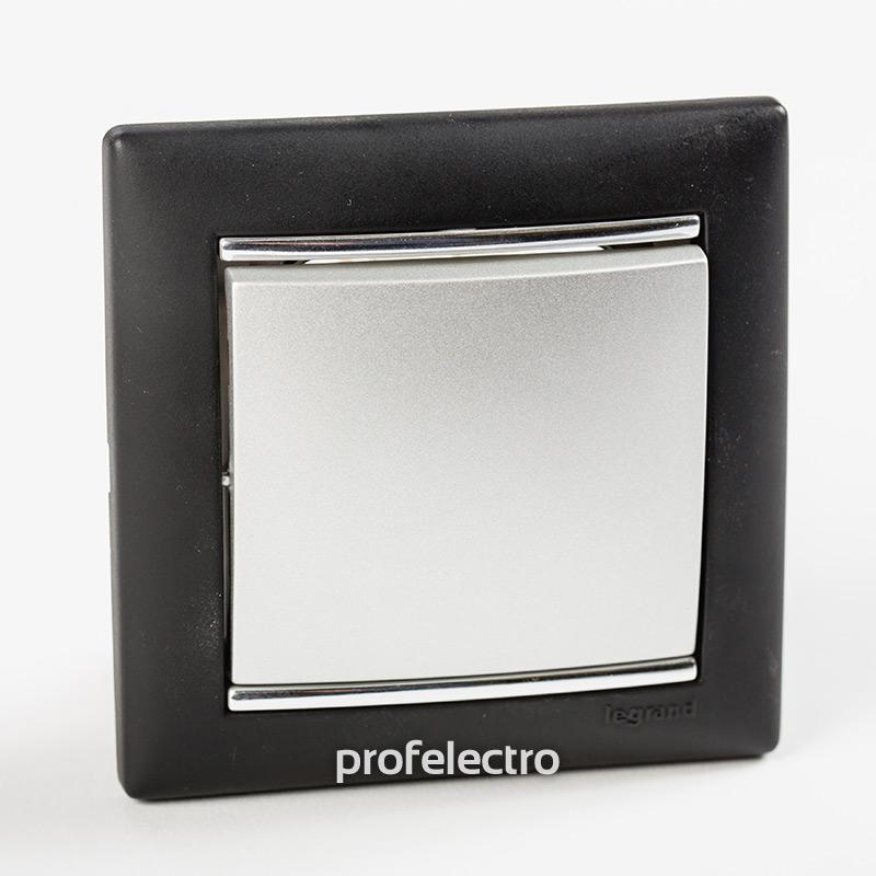 Рамка цвет ноктюрн-серебряный штрих в сборе с выключателем Valena