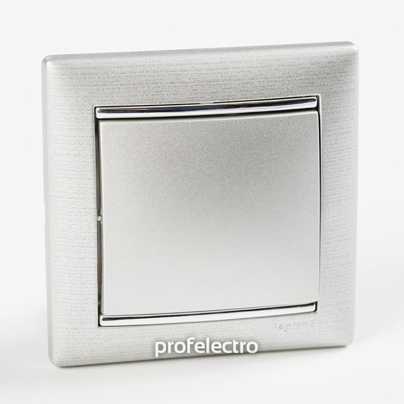 Рамка цвет матовый алюминий в сборе с выключателем Valena