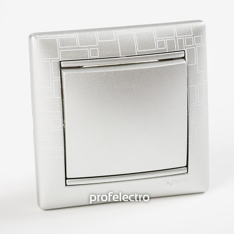 Рамка цвет алюминий модерн в сборе с выключателем Valena