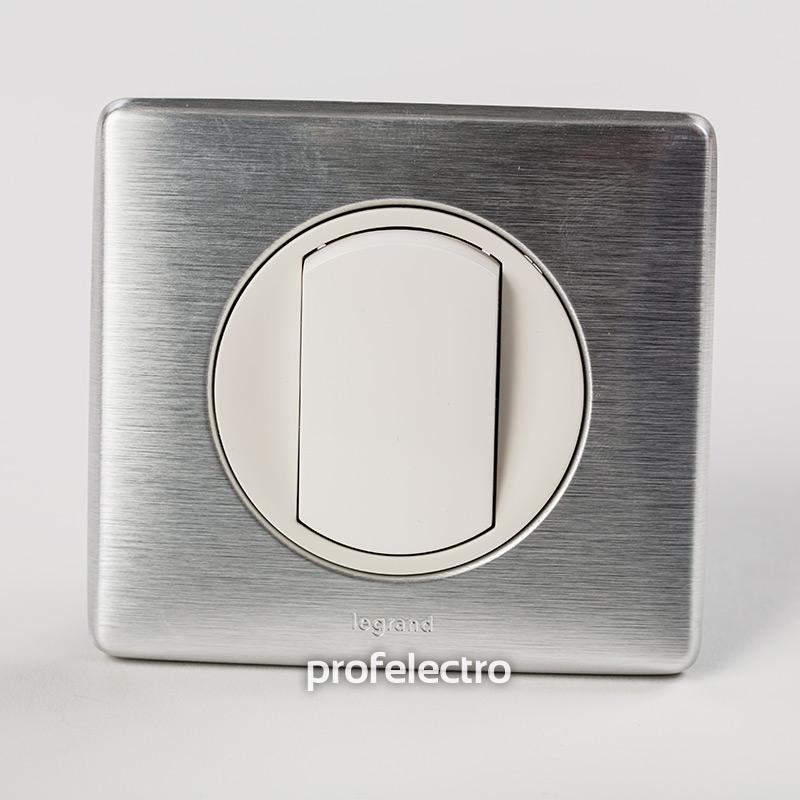 Рамка цвет алюминий-панель белая Celiane