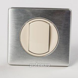 Рамка цвет алюминий-панель слоновая кость Celiane Legrand на profelectro.com.ua