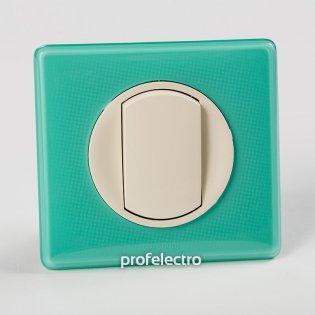 Рамка цвет бирюзовый муар-панель слоновая кость Celiane Legrand на profelectro.com.ua