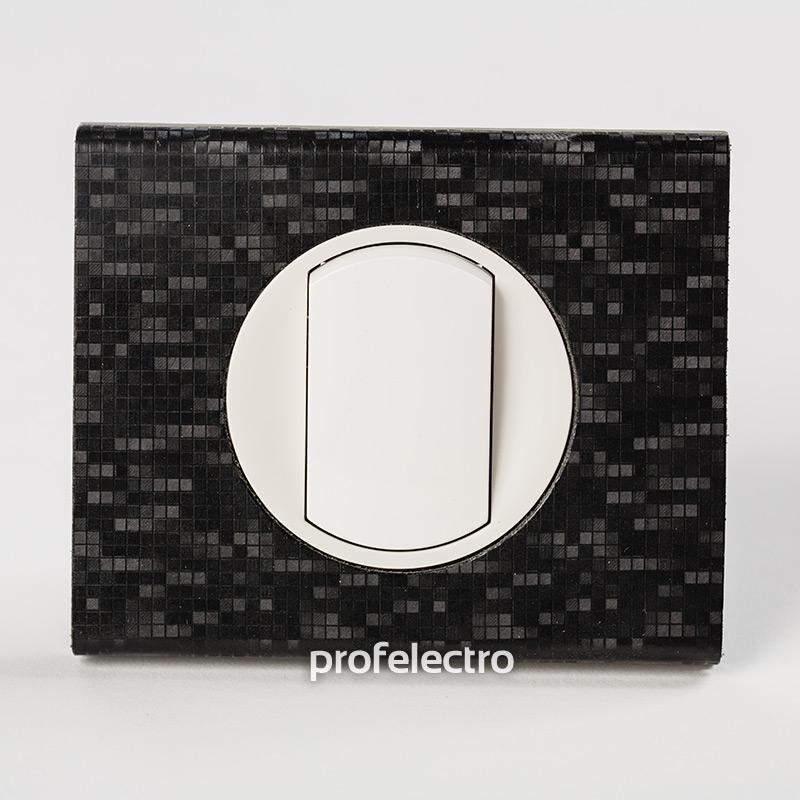 Рамка кожа цвет блек пиксель-панель белая Celiane