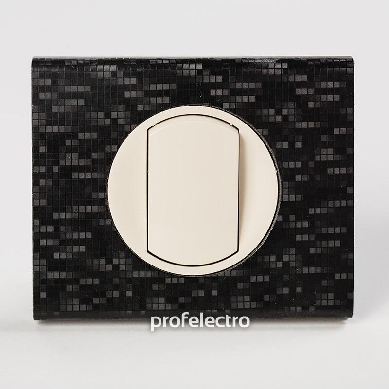 Рамка кожа цвет блек пиксель-панель слоновая кость Celiane