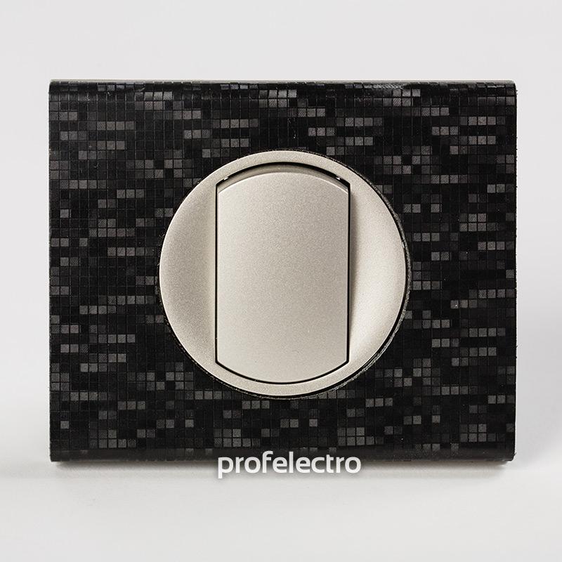 Рамка кожа цвет блек пиксель-панель титан Celiane