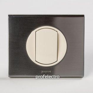 Рамка металлическая цвет фактурная сталь-панель слоновая кость Celiane Legrand на profelectro.com.ua