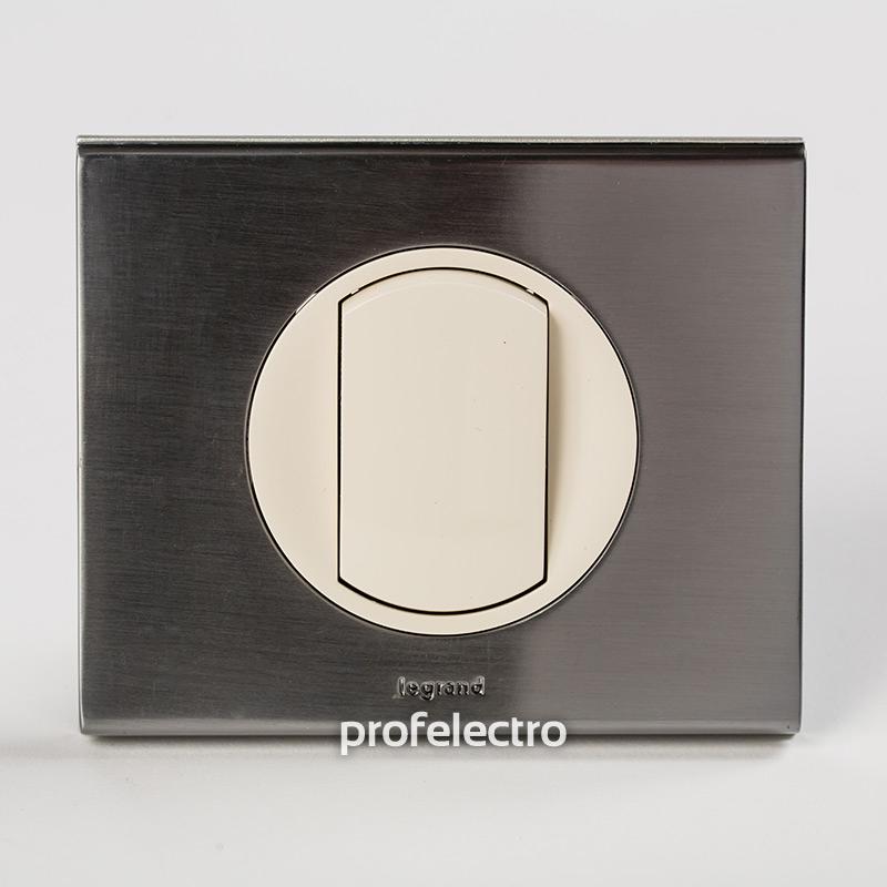 Рамка металлическая цвет фактурная сталь-панель слоновая кость Celiane