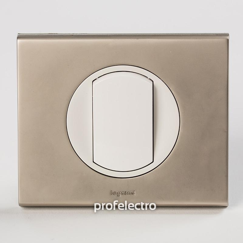 Рамка металлическая цвет никель велюр-панель белая Celiane