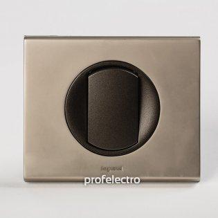 Рамка металлическая цвет никель велюр-панель графит Celiane Legrand на profelectro.com.ua