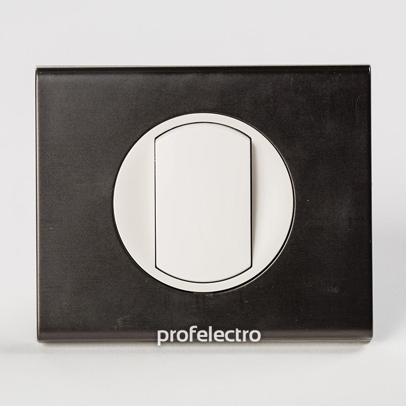 Рамка металлическая цвет черный никель-панель белая Celiane