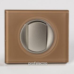 Рамка стеклянная цвет смальта мокка-панель титан Celiane Legrand на profelectro.com.ua