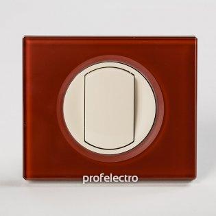 Рамка стеклянная цвет смальта кармин-панель слоновая кость Celiane Legrand на profelectro.com.ua