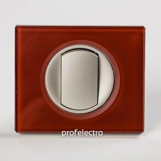 Рамка стеклянная цвет смальта кармин-панель титан Celiane Legrand на profelectro.com.ua