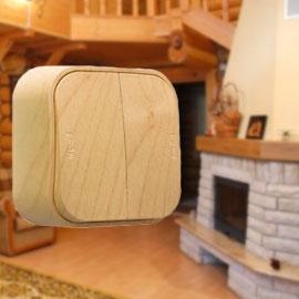 Двухклавихный деревянный выключатель Legrand Quteo™ (Кутео)