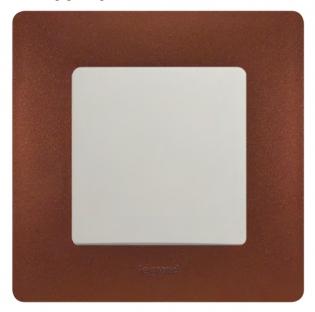 Фото Традиционное сочетание цвета рамки и лицевого механизма Legrand Etika (цвет рамки – какао)
