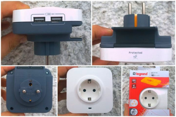 Розетка Legrand с 2 встроенными USB портами