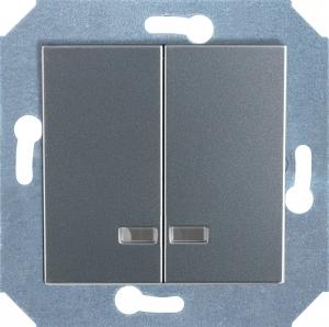 Фото Выключатель двухклавишный с подсветкой (зеленая лампочка) 10 А, 250 В~