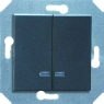 Выключатель двухклавишный с подсветкой (зеленая лампочка) 10 А, 250 В~