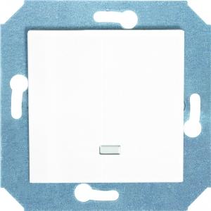 Фото Выключатель одноклавишный проходной (универсальный) с подсветкой (зеленая лампочка) 10 А, 250 В~