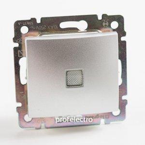 Выключатель одноклавишный проходной с подсветкой алюминий Valena