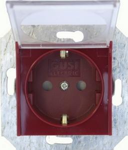 Розетка с заземляющим контактом и прозрачной крышкой (откидной) 16 А, 250 В~