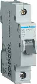 Автоматические выключатели однополюсные 6 кА Hager тип В