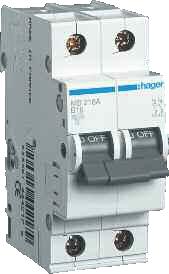 Фото Автоматические выключатели двухполюсные 6 кА Hager тип С