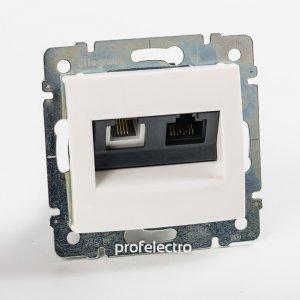 Розетка комбинированная телефон и компьютер белая Valena