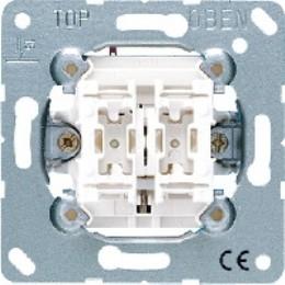 Фото Выключатель двухклавишный однотактный (кнопка) с подсветкой (красная лампочка) 10 А, 250 В~