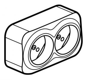 Фото Розеточный блок двойной без заземляющего контакта 16 А, 250 В~