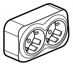 Розеточный блок двойной с заземляющим контактом и защитными шторками для защиты детей 16 А, 250 В~