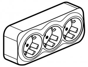 Фото Розеточный блок тройной с заземляющим контактом и защитными шторками для защиты детей 16 А, 250 В~