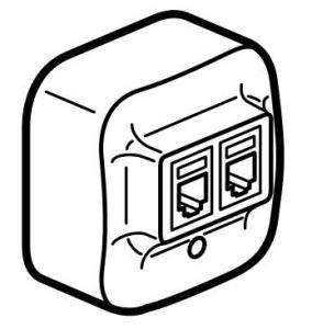 Розетка комбинированная (телефон + компьютер) два выхода: RJ11 (4 контакта) + RJ45 (8 контактов, UTP)
