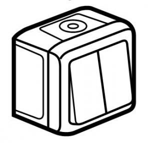Фото Выключатель двухклавишный проходной (универсальный), влагозащищенный (IP44) 10 А, 250 В~