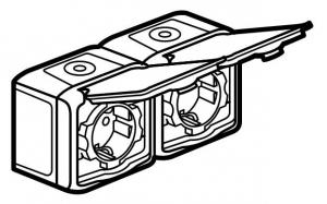 Фото Розеточный блок двойной с заземляющим контактом, крышкой и защитными шторками для защиты детей, влагозащищенная (IP44) 16 А, 250 В~
