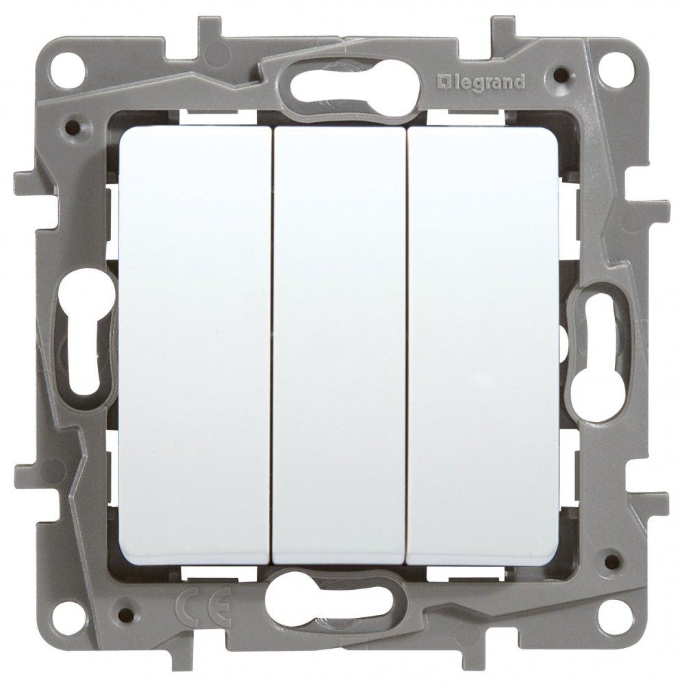 Выключатель трехклавишный белый Etika Plus