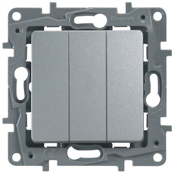Выключатель трехклавишный алюминий Etika Plus