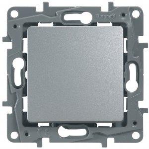 Выключатель одноклавишный проходной алюминий Etika Plus