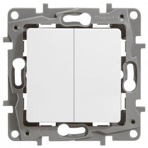 Выключатель двухклавишный проходной белый Etika Plus