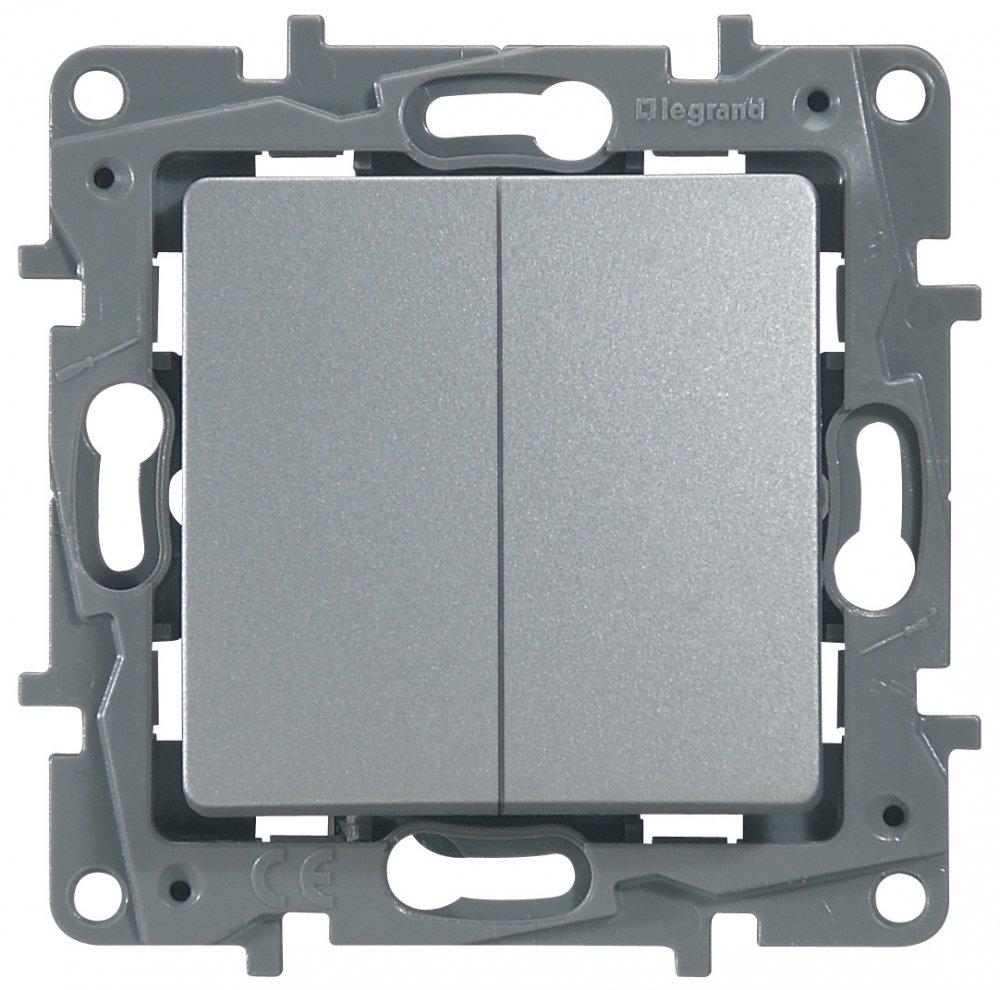 Выключатель двухклавишный проходной алюминий Etika Plus