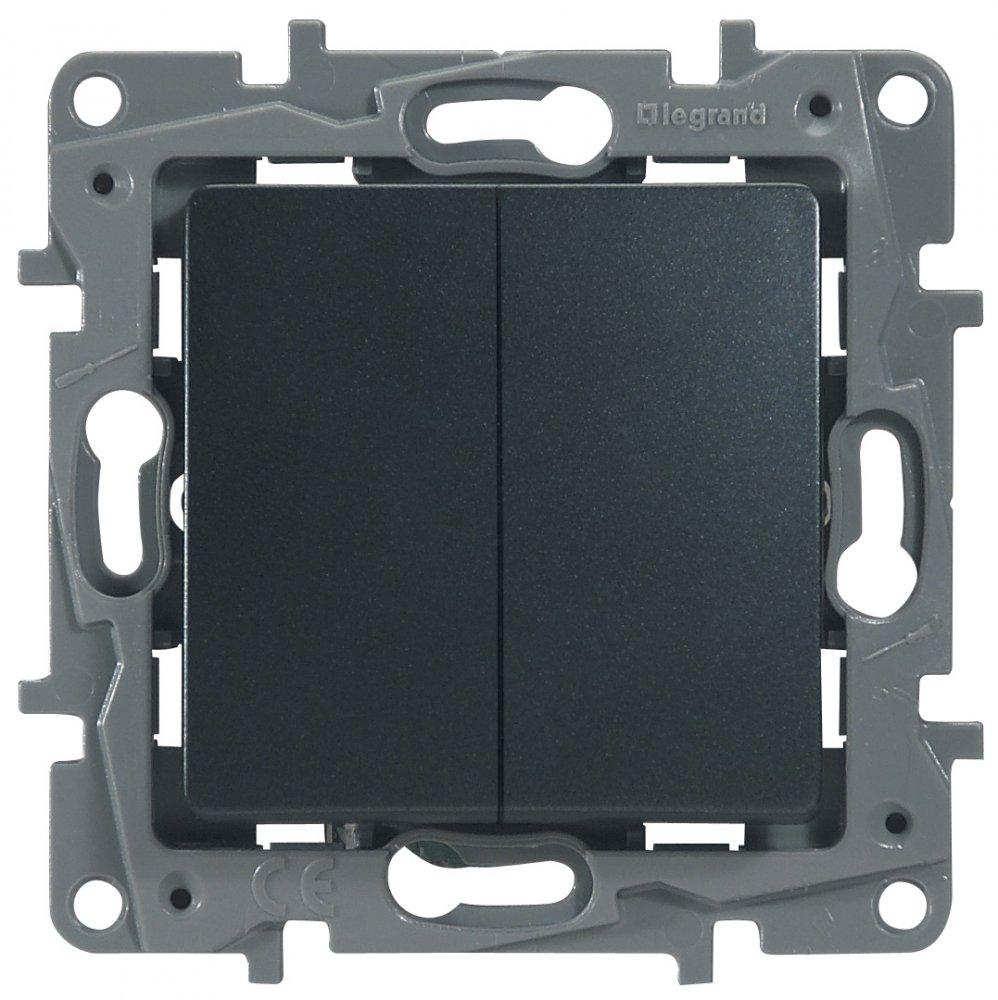 Фото Выключатель двухклавишный проходной (универсальный) 10 А, 250 В~, автоматические клеммы Etika Plus